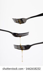 covered with honey, studio white background