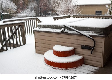 Covered hot tub on a residential porch in a snow storm, horizontal aspect