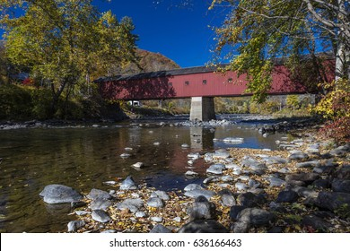 Covered Red Bridge, West Cornwall covered bridge over Housatonic River, West Cornwall, Connecticut, USA - October 18, 2016