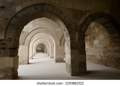 Covered stone arches of Sultanhani Caravanserai portico for storage and summer accommodation Turkey