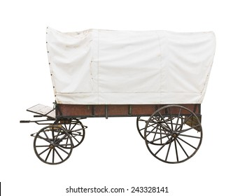 Covered wagon with white top isolated on white background