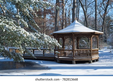 covered walkway with fresh snow