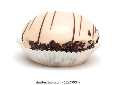 ���¡ake  covered with white chocolate glaze isolated on white