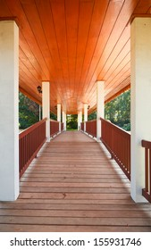 Covered wooden bridge in the park