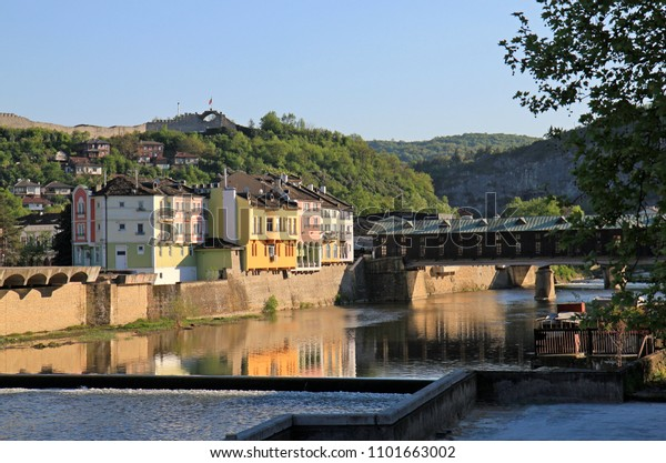 Covered Wooden Bridge Town Lovech Over Stock Photo Edit Now 1101663002