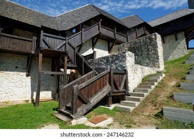 Covered wooden staircase and gallery in Celje medieval castle in Slovenia