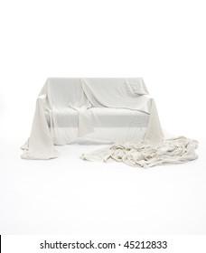 covering linen's sofa sofa on white background