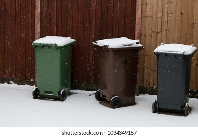 A covering of snow on the waste bins in the garden