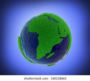 Covering world map with green grass for eco concept , clipping path included