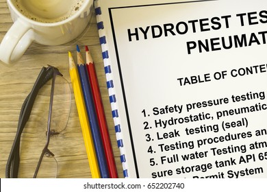Coversheet of a hydrotest and Pneumatic testing procedure.