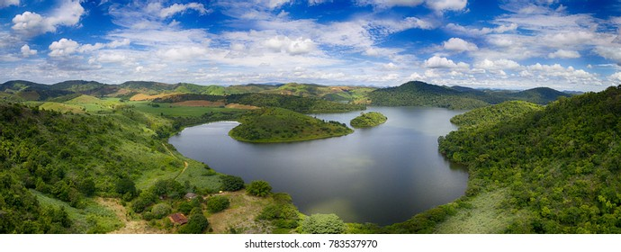 The coves of a large lake. Aerial view of nature. Minas Gerais, Brazil.