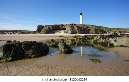 Covesea Skerries Lighthouse at Lossiemouth in Moray, Scotalnd.