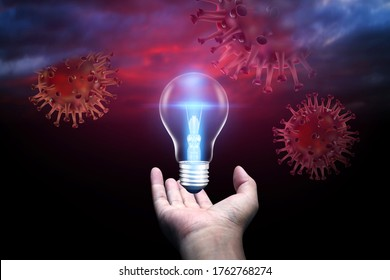 Covid 19 virus cell with disease cell as a 3D render under the dark sky with hand holding the light bulb behind shining light. Creativity ideas concept.