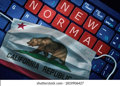 COVID-19 coronavirus new normal concept in the US state of California as shown by Californian flag on face mask with New Normal on laptop red alert keyboard buttons.