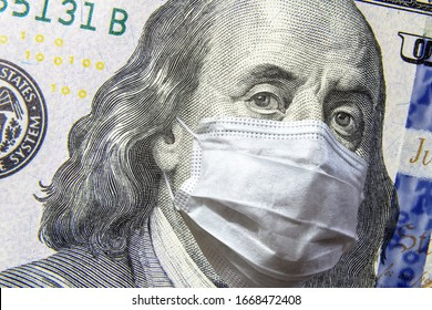 COVID-19 coronavirus in USA, 100 dollar money bill with face mask. COVID affects global stock market. World economy hit by corona virus outbreak. Financial crisis and coronavirus pandemic concept.