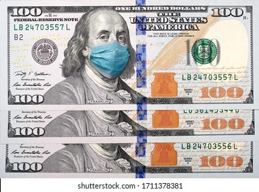 COVID-19 coronavirus in USA, 100 dollar money bill with face mask. Crisis and finance concept.
