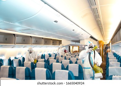 Covid-19 disease prevention. Aircraft interior cabin deep cleaning for coronavirus.