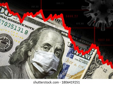 COVID-19 impacts to business, dollar money and graph of stock market crash during coronavirus pandemic. Global financial crisis due to coronavirus forecast. World economy hits by novel corona virus.