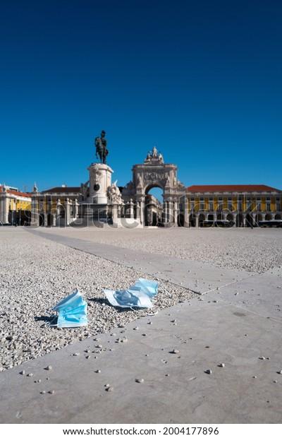 Covid-19 in Lisbon Portugal. Corona Covid Masks