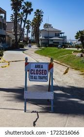 covid19 quarantine signs at the beach