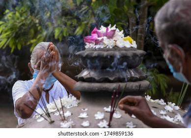 Covid-19, Sri Lankan Buddhists pray in kelaniya temple Sri Lanka on 5th June 2020, Poson poya day is celebrated to commemorate the introduction of Buddhism to Sri Lanka by Arahath Mahinda 2327 Years