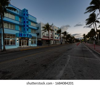 Covid-19, Stay at Home Law, Colony Hotel on Ocean Drive, Miami Beach, 7:01am, March 19th, 2020