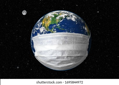 COVID-19, travel and safe world concept, globe in medical mask on star sky background. Planet Earth with protect from coronavirus in outer space during pandemic. Elements of image furnished by NASA.