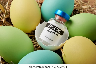 Covid-19 vaccination and Easter vaccine bottle in Easter egg