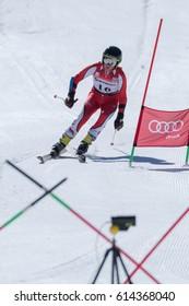 COVILHA, PORTUGAL - APRIL 2, 2017:  Jose Soares during the National Ski  Championships at Serra da Estrela, Covilha, Portugal.