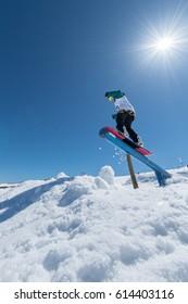 COVILHA, PORTUGAL - APRIL 2, 2017:  Rita Rainho during the National Snowboard  Championships at Serra da Estrela, Covilha, Portugal.