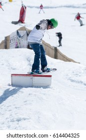 COVILHA, PORTUGAL - APRIL 2, 2017:  Diogo Pombeiro during the National Snowboard  Championships at Serra da Estrela, Covilha, Portugal.