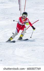 COVILHA, PORTUGAL - MARCH 11, 2017:  Jose Soares during the National Ski  Championships at Serra da Estrela, Covilha, Portugal.