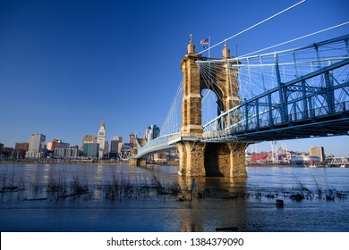 Covington, Kentucky looking towards Cincinnati, Ohio, January 16, 2019 with the Cincinnati Covington suspension bridge spanning the Ohio river