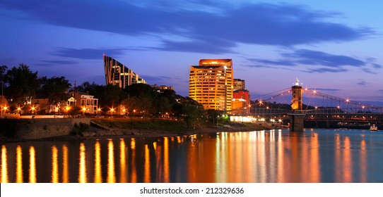 Covington Kentucky At Night, Across The Roebling Suspension Bridge From Cincinnati Ohio USA