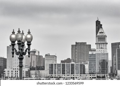 Covington Kentucky river front historical pier lights looking across to beautiful colorful Cincinnati Ohio city scape urban exploration photography