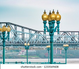Covington Kentucky river front historical pier lights looking across to Cincinnati Ohio city scape urban exploration photography