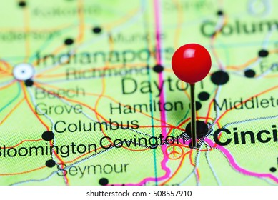 Covington pinned on a map of Kentucky, USA