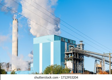 Covington, Virginia commonwealth city in Alleghany county small town and smog pollution from paper mill smokestack