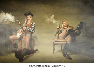 cow boy shooting with guns on hands, abstract western concept