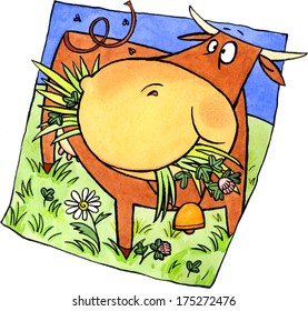 The cow character is eating grass on a meadow. Watercolor and ink illustration.
