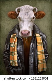 Cow in clothes. Man with a head of an cow. Concept graphic in vintage style with soft oil painting style