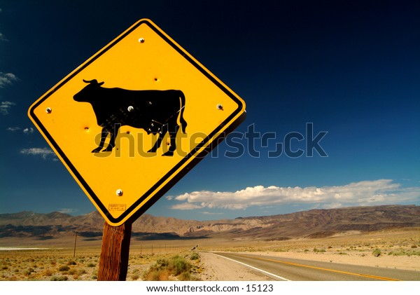 Cow crossing sign in Death Valley