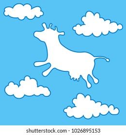 Cow flying among clouds. Blue cloudy sky background. Template for dairy products. Raster version.