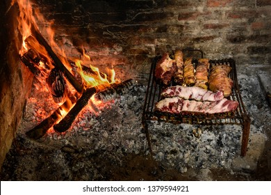 Cow ribs meat grilled,cooked with wood fire, La Pampa, Argentina