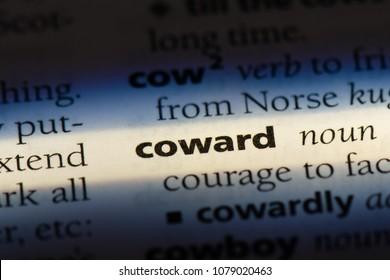 coward word in a dictionary. coward concept