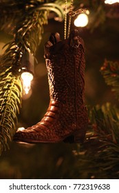 Cowboy boot Christmas tree ornament