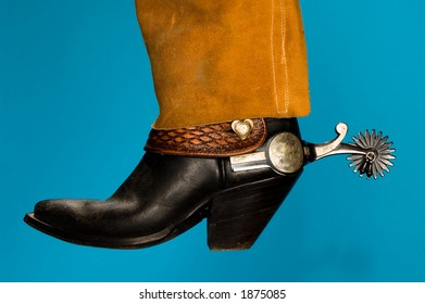 cowboy boot & spur with leather chaps
