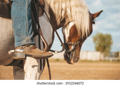 Cowboy boot with a spur. Ranch horse. Pinto western horse with a rider.