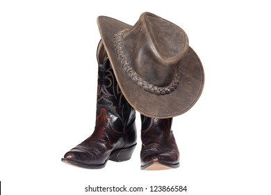 Cowboy boots and hat isolated with clipping path b30b36b752c