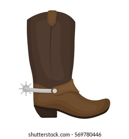 Cowboy boots icon in cartoon style isolated on white background. Rodeo symbol stock bitmap, rastr illustration.